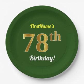 緑、模造のな金ゴールドの第78誕生日 + 名前をカスタムする ペーパープレート