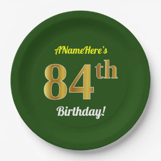 緑、模造のな金ゴールドの第84誕生日 + 名前をカスタムする ペーパープレート