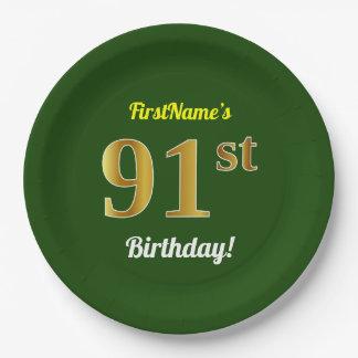 緑、模造のな金ゴールドの第91誕生日 + 名前をカスタムする ペーパープレート