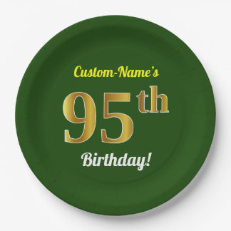 緑、模造のな金ゴールドの第95誕生日 + 名前をカスタムする ペーパープレート