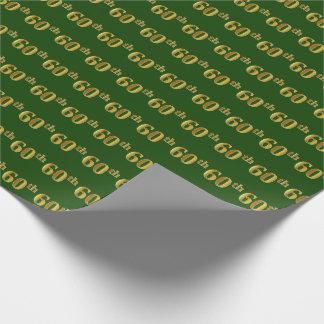 緑、模造のな金ゴールド第60の(第60)イベント ラッピングペーパー