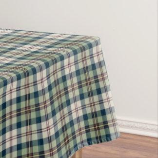 緑、濃紺およびクリームの格子縞 テーブルクロス