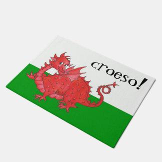 緑、白いCroesoのウェールズのかわいい赤いドラゴン ドアマット