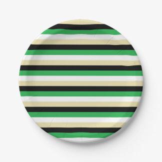 緑、白く、ベージュ色および黒のストライプ ペーパープレート