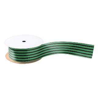 緑、白黒ストライプ サテンリボン
