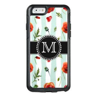 緑、赤いケシ、モノグラムのな花 オッターボックスiPhone 6/6Sケース