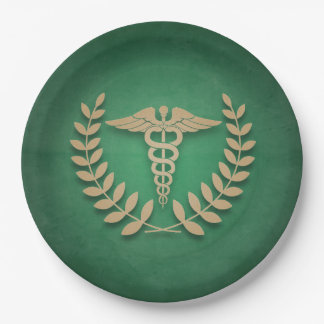 緑 + 金ゴールドのケリュケイオンの医学の記号の医者かナース ペーパープレート