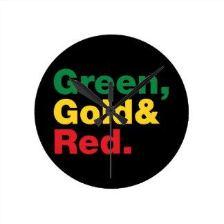 緑、金ゴールド及び赤 ラウンド壁時計