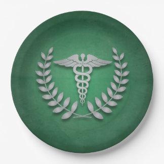 緑 + 銀製のケリュケイオンの医者パーティ ペーパープレート