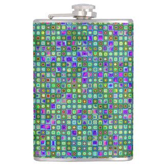 緑、青および紫色ファンキーなレトロのタイルパターン フラスク