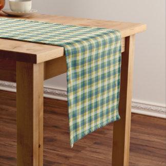 緑、青および黄色のチェック模様の格子縞 ショートテーブルランナー