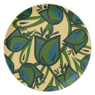 緑/青チューリップの民芸のメラミンプレート プレート