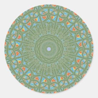 緑、青、オレンジおよび黄色の曼荼羅のステッカー ラウンドシール