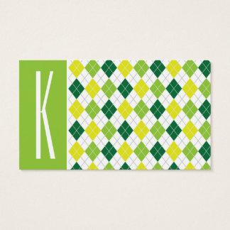 緑、黄色、及び白いアーガイル 名刺