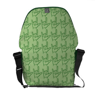 緑ASL I愛メッセンジャーバッグ メッセンジャーバッグ