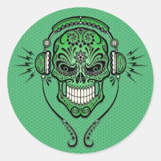 緑DJはスカルを砂糖で甘くします ラウンドシール