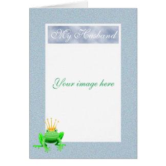 緑frog.humor.の夫のためのカスタムなフレーム カード