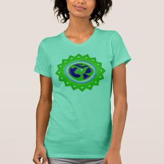 緑Omの曼荼羅の上 Tシャツ