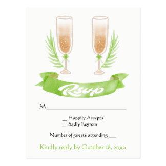 緑RSVPの水彩画のシャンペンガラスの結婚 ポストカード