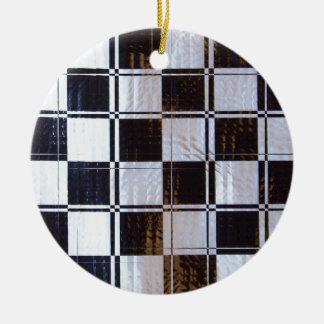 線形チェッカーボードパターン セラミックオーナメント