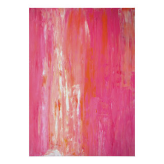 「線形色」のピンクおよびオレンジ抽象美術 ポスター
