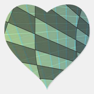 線形角度の深緑色の格子縞のデザイン ハートシール