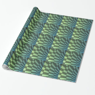 線形角度の深緑色の格子縞のデザイン ラッピングペーパー