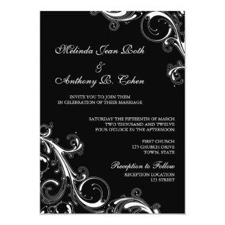 線条細工の渦巻の黒w/White 5x7の結婚式 カード