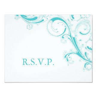 線条細工の渦巻青いクラサオ島RSVP カード