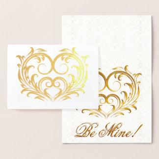 線条細工の金ゴールドホイルのハート-私の物があって下さい! 箔カード