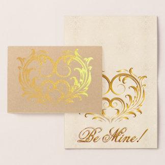 線条細工の金ゴールドホイルのハート-私の物があって下さい! #2 箔カード