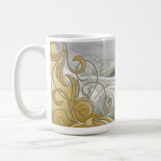 線条細工エレガントな水彩画の白いバラ及び金ゴールド コーヒーマグカップ