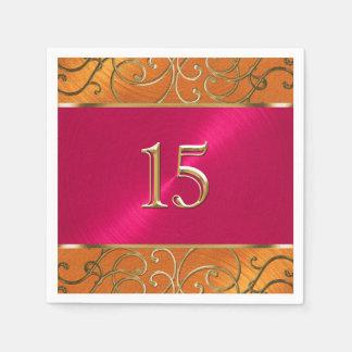 線条細工キンセアニェラのマゼンタのピンクのオレンジ金ゴールド スタンダードカクテルナプキン