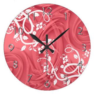 線条細工及び花の赤上のカール ラージ壁時計