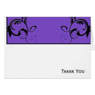 線条細工紫色及び黒いモノグラム ノートカード