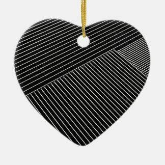 線画-幾何学的な錯覚、抽象芸術はbwを縞で飾ります セラミックオーナメント