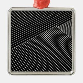 線画-幾何学的な錯覚、抽象芸術はbwを縞で飾ります メタルオーナメント