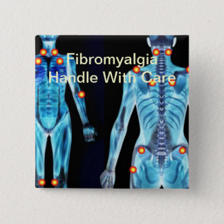 線維筋痛-心配と扱って下さい 5.1CM 正方形バッジ