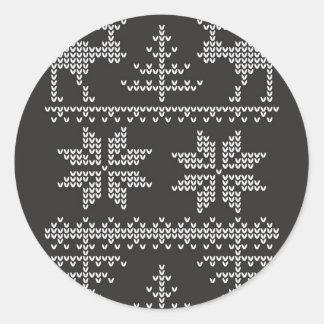 編まれたセーターパターン ラウンドシール