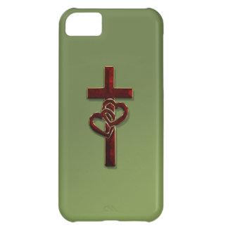 編まれたハートの十字 iPhone5Cケース