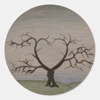 編まれた木 丸型シール