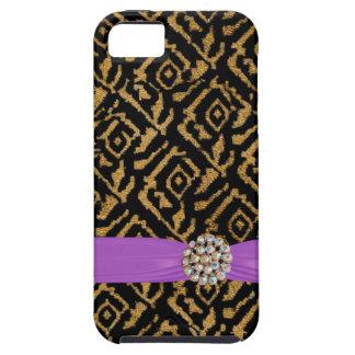 編まれた金ゴールドの金属iPhoneのリボンおよびラインストーン iPhone SE/5/5s ケース