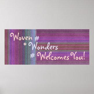 編まれた驚異のカスタムな旗Purple2 ポスター