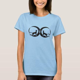編まれるMooncatの鏡 Tシャツ