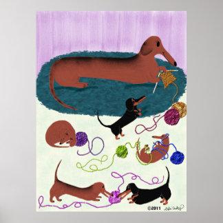 編み物のダックスフント ポスター