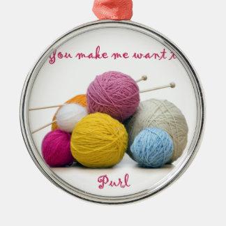 編み物のユーモア メタルオーナメント