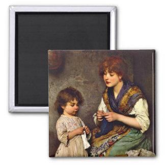 編み物のレッスン、Eugene de Blaasの芸術家 マグネット