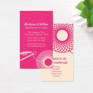 編み物の刺繍のピンクのクリームの名刺 名刺