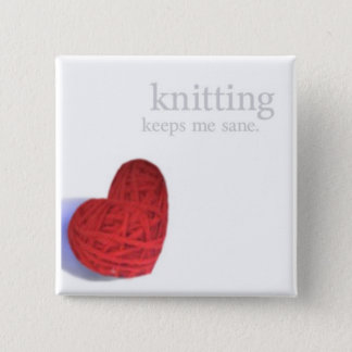 編み物の正気のハートボタン 缶バッジ