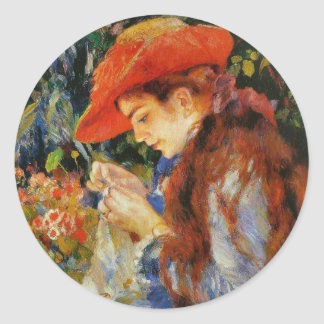 編み物をする女性 ラウンドシール